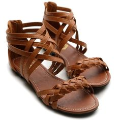 Ollio Womens Flats Sandals Gladiator Strappy Zip Closure Multi Colored Shoes $17.99