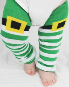 Adorable Leprechaun Green Striped St Patty's Day Baby Leg Warmers, Easter Baby, 1st birthday.