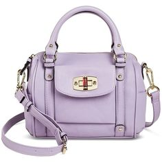 Merona Women's Solid Satchel Handbag with Turnlock Pocket Violet - ($35) ❤ liked on Polyvore featuring bags, handbags, purple bag, pocket satchel, merona, violet bags and satchel style handbags