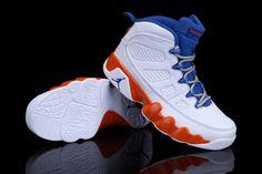 Kids Air Jordan 9 Retro White/Orange/Blue