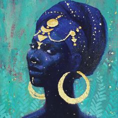 The mystical, fantastical, spiritual art of Annelie Solis. About the artist. Shop prints and originals. Black Women Art, Black Art, Black Girls, Small Canvas Paintings, Goddess Art, Visionary Art, Psychedelic Art, Art Sketchbook, African Art