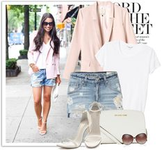 Casual on heels,Pink jacket and shorts,short denim shorts,denim short shorts and heels,short denim,weekend fashion,style ideas,weekend outfit,weekend wear inspiration