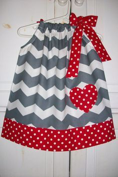 Valentines Day Pillowcase Dress Sweetheart CHEVRON Grey with Red Heart baby toddler girl by Little Sweetie Boutique