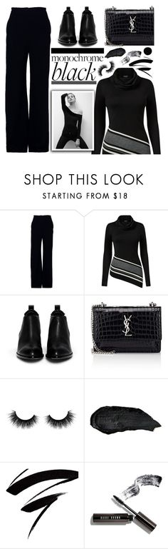 """Monochrome Beauty"" by arrow1067 ❤ liked on Polyvore featuring Brandon Maxwell, Venus, Alexander Wang, Yves Saint Laurent, Artémes, Bobbi Brown Cosmetics, Deborah Lippmann and allblackoutfit"