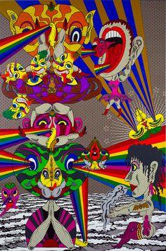 Rainbow Light Beam 2007 acrylic on screened canvas 1455 x 970 mm Trenton Doyle Hancock, Keiichi Tanaami, Green Jello, Rainbow Light, Takashi Murakami, Light Beam, Kitsch, Beams, Mythology