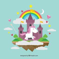Mundo maravilloso con un unicornio Vector Gratis