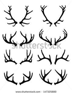 Silhouettes of deer antlers 2-vector