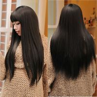 fashion long straight black hair wig womens lady cosplay daily full wigs gift