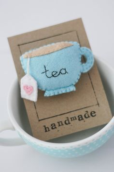 Blue Teacup Felt Brooch, Tea, Embroidery, Teabag