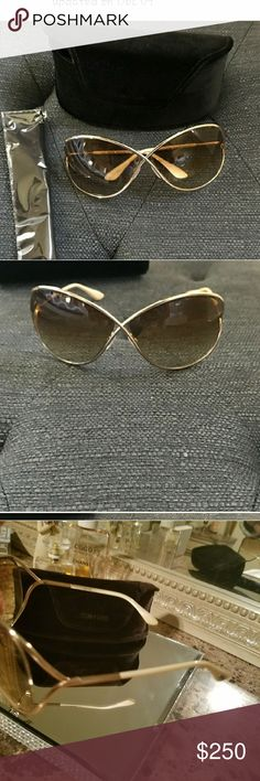"Tom Ford Sunglasses""Miranda* Softened & oversized squares are very chic. Iconic crossover detail. Gold w/ cream earpiece. These were never worn by seller so in New condition. Includes  Original iconic velvet case with magnetic closure, also New without tagss,and original cleaning cloth still sealed in plastic. Tom Ford Accessories Glasses"