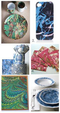 John Derian and Astier de Villatte marbled plates and mugs