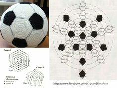 Fußball Marque-pages Au Crochet, Crochet Ball, Crochet Amigurumi, Crochet Motifs, Crochet Diagram, Crochet Granny, Amigurumi Patterns, Crochet For Kids, Crochet Crafts