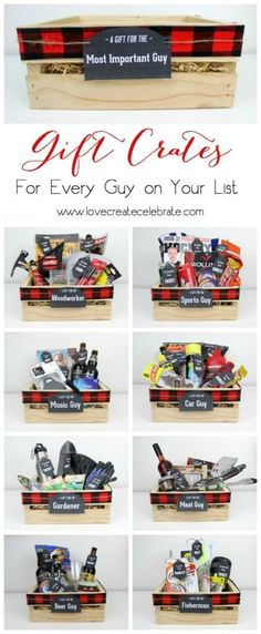 Instead of gift baskets, why not opt for the more manly Gift Crates for guys?! The perfect crate for any guy on your list, plus an amazing list of suggestions!