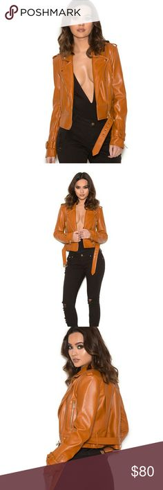 'Kim K' Cropped Leather Jacket Vegan Material, Oversized Fit, Tan-Orange Color (Last Pic) Jackets & Coats