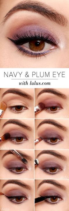 Easy Step by Step Eyeshadow Tutorials for Beginners – Navy and Plum Eye Look