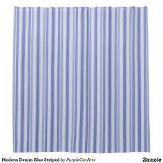 Modern Denim Blue Striped Shower Curtain. #bathroomdecor #showercurtains