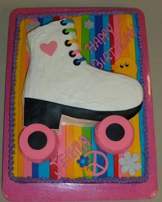 Custom Roller Skate Cake with Fondant detailing! Happy Birthday J Dance Party Birthday, 80th Birthday, Girl Birthday, Birthday Ideas, Birthday Parties, Birthday Cakes, Happy Birthday Jenna, Kylie Birthday, Roller Skating Party