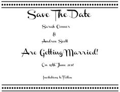 Black & White DIY Save The Date Card