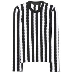 Alexander Wang Striped Cut-Out Sweater (£220) ❤ liked on Polyvore featuring tops, sweaters, jumpers, black, striped jumpers, stripe top, striped top, striped sweater and alexander wang top
