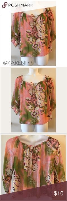 Just In 🦋 Plus Size Floral Sheer top🦋 Preloved in Good conditions, sheer material top. Fly away sleeves. Nice for layering and light for spring Summer days. No flaws. Approx Measure. From shoulder to hem it's 23' L ❗️Bundle & Save❗️ Tops Blouses