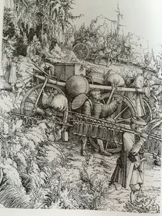 Albrecht Altdorfer, Baggage Train and Camp Followers. Woodcut (6th block) 1517-1518.