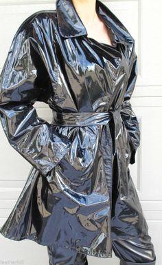 ULTRA SHINY BLACK VINYL COAT - RUBBERY PVC TRENCH JACKET #DOWNTOWNKSW #TRENCHCOATJACKET