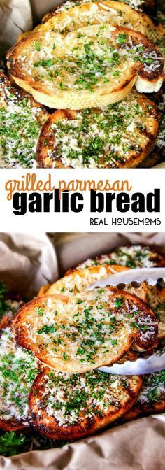 Buttery, thick Italian spiced Grilled Parmesan Garlic Bread is the perfect summer side to almost any meal and so incredibly easy and budget friendly! via /realhousemoms/