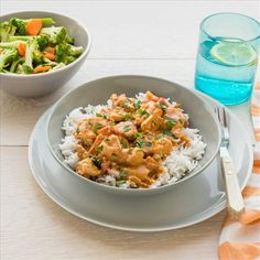 Butter Chicken Curry with Basmati Rice and Steamed Vegetables