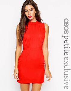 ASOS+PETITE+Sleeveless+Mini+Dress+with+High+Neck