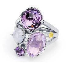 Pretty pink pastels fit for a queen! Sparkling droplets of Rose Amethyst, White Chalcedony, and Amethyst are brilliantly united together in a .925 silver prong to create a truly regal beauty. Finished off with the classic yellow gold Tacori seal, this ring complements any style for a timeless feminine look.
