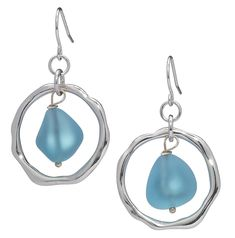 Ocean Waves Sea Glass Earrings, Handmade Silver-plated Hoop with Turquoise Glass -- Visit the image link more details. (This is an affiliate link) #JewelryDesign