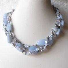 chunky blue wedding necklace | SALE Chunky Necklace Light Blue Agate Beaded Multistrand Necklace ...