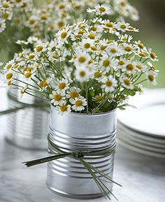 Tin Can Vases - Large cans of tomato sauce make excellent water-tight containers. I prefer cans with a ribbed body to mimic pottery details. Use long grass or ribbons to decorate. Fill with your favorite flowers.