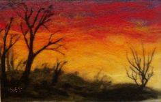Needle Felted Wool Painting Sunset van syodercrafts op Etsy