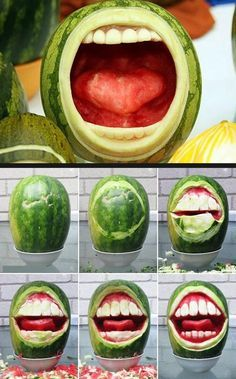 This not the only produce to be carved with teeth, checkout this Jack o' Lantern! I personally like the watermelon as a canvas for the mouth to be carved on. 4th Of July Watermelon, Watermelon Turtle, Watermelon Hacks, Watermelon Fruit Salad, Watermelon Basket, National Watermelon Day, Rainbow Fruit, Fruit Salads, Shrek