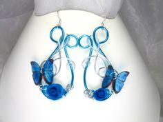 Boucles d'oreilles argent 925 Fil d'aluminium avec perles cristal