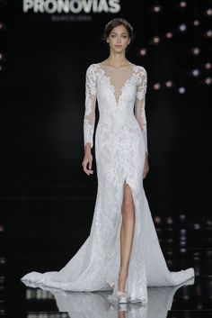 Pronovias at Barcelona Bridal Fashion Week: http://www.stylemepretty.com/2016/05/01/wedding-dresses-barcelona-bridal-fashion-week/