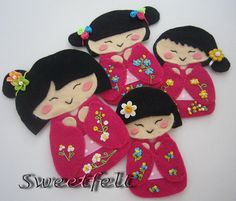 Kokeshi - Grice, Schmeltzer Schmeltzer Miles, Baker A L E Y Felt Diy, Felt Crafts, Fabric Crafts, Sewing Crafts, Felt Dolls, Paper Dolls, Asian Quilts, Japan Crafts, Japanese Quilts