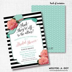 BIG HAT bridal shower invitation they're off to the by misspokadot