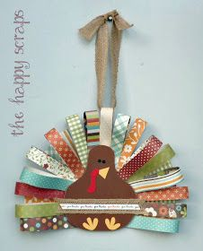 The Happy Scraps: Paper Feathered Turkey This would look so cute in the middle of a burlap wreath
