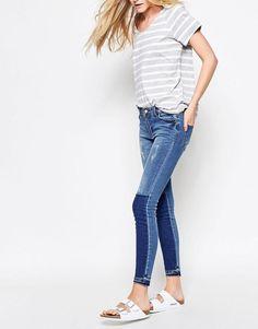 Vila   Vila Two Tone Block Skinny Jeans at ASOS