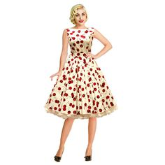 FREE SHIPPING Fashion 50s hepburn vintage slit neckline red cherry expansion bottom slim one-piece dress US $35.00