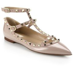 Valentino Women's Rockstud Patent Leather Cage Flats (€950) ❤ liked on Polyvore featuring shoes, flats, sapatilhas, apparel & accessories, patent leather shoes, pointy-toe flats, ankle wrap flats, flat shoes and ankle tie flats