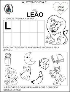 A letra do dia é L Portuguese Lessons, Toddler Learning, Valspar, Kindergarten, Homeschool, Anime, Letter T Activities, Language Activities, Sight Word Activities