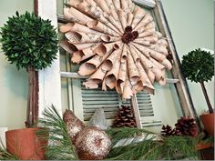 Paper wreath with pinecones