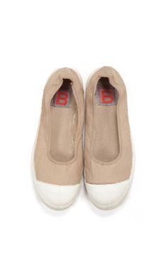 Bensimon ballerina, mastic color.  100% Cotton Canvas top part with a rubber sole.