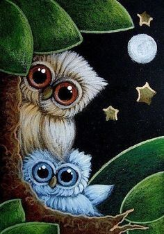 Brownish and Blue Owls. Owl Art, Bird Art, Images Kawaii, Owl Wallpaper, Owl Cartoon, Owl Pictures, Beautiful Owl, Cute Owl, Pastel Art
