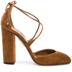 Aquazzura Karlie Suede Heels (€655) ❤ liked on Polyvore featuring shoes, pumps, heels, aquazzura, high heel shoes, aquazzura pumps, leather sole shoes and high heel pumps