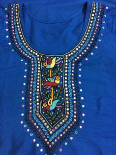 Hand Embroidery Dress, Embroidery Neck Designs, Basic Embroidery Stitches, Hardanger Embroidery, Embroidery Motifs, Embroidery Fabric, Indian Embroidery, Saree Painting, Dress Painting