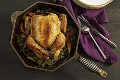 Roast chicken is incredibly simple but tastes wonderful and looks lovely – especially in a FINEX Cast Iron Skillet. Cast Iron Grill Pan, Cast Iron Cooking, Baking Secrets, Baking Tips, Bread Baking, Baked Whole Chicken Recipes, Vintage Cast Iron Cookware, Sicilian Recipes, Sicilian Food